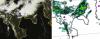 Confronto tra un'immagine satellitare e una mappa di previsione di pioggia